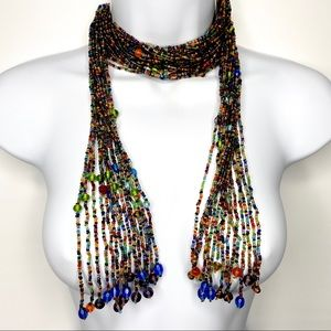 Jewelry - Boho Seed Beaded Tassel Versatile Scarf Necklace